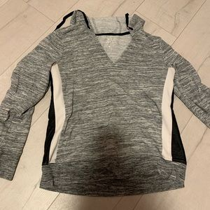 Grey Hoodie sweatshirt with lateral leather string